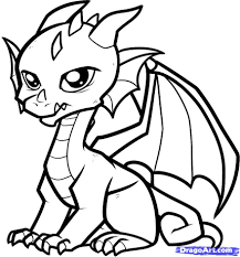 coloring pages draw a simple dragon coloring page