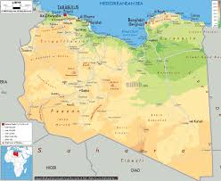 Africa Physical Map Large Physical Map Of Libya With Roads Cities And Airports