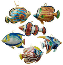 value arts company cloisonne tropical fish ornaments set of 6