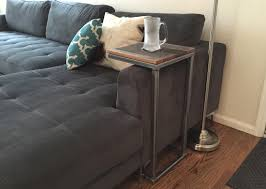 C Side Table Furniture Black Iron Sofa C Shape Sofa Table With Wooden Top