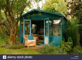 Summer House In Garden - summerhouse in english garden england stock photo royalty free
