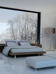 ultramodern bedroom interior with double bed against panorama
