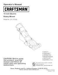 craftsman lawn mower 247 370160 user guide manualsonline com