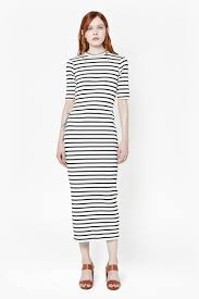 french connection bodycon stripe maxi dress in blue lyst