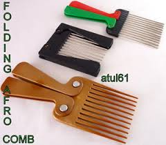 afro comb afro comb metal teeth folding foldable colour handle hair brush