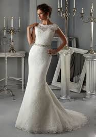 wedding dresses with sash ribbon royal looking allover lace bridal dress with an illusion neckline
