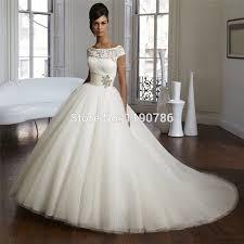 brautkleid mit g rtel elegantes weiß elfenbein tüll ballkleid brautkleider spitze