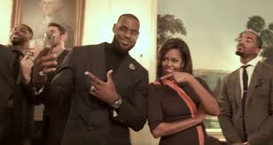 video michelle obama joins lebron james for the mannequin