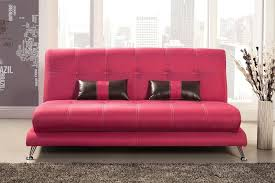 contemporary style fuchsia leatherette sofa pillows couch futon