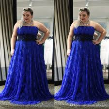 royal blue plus size prom dress 2014 strapless a line sweep train