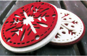 china selling christmas decorations polyester felt coaster