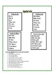 english worksheets verb to be verb to do verb to have u0026 verb