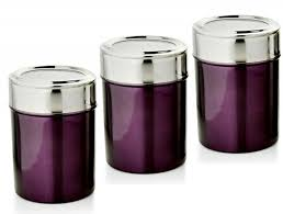 purple kitchen canisters dezinox purple stainless steel set of 3