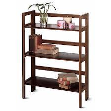 Iron Folding Bookcase Wood Folding 3 Shelf Bookcase Multiple Finishes Walmart Com