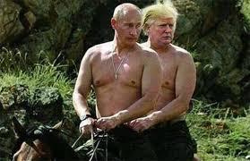 Soon Horse Meme - image of donald trump and vladimir putin riding a horse shirtless