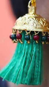 lotan earrings lotan green resham silk tassels and gold multi stones jhumka