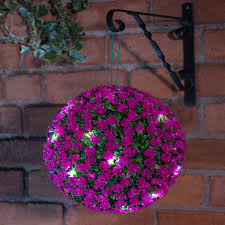 Hanging Topiary 28cm Solar Powered Led Rose Topiary Ball Hanging Boxwood Garden