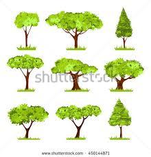 set cartoon trees shrubs isolated on stock vector 262392545