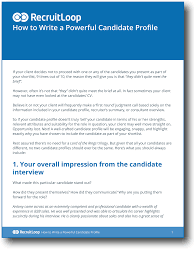 Past Sales The Key Agents 10 Simple Steps To Writing A Powerful Candidate Profile