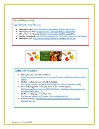 thanksgiving activities webquest by innovations in technology