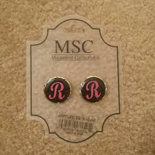 Monogrammed Earrings 50 Off Mainstreet Collection Jewelry Nwt Monogrammed Earrings