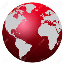Europe And Africa Map by World Map Red Globe America Europe And Africa Stock Photo