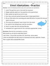direct quotations practice worksheet by ruby u0027s classroom tpt