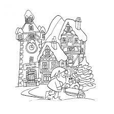 Coloriage Adulte Paysage dhiver dessin gratuit à imprimer