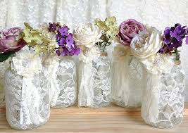 bridal decorations 5 ivory lace covered jar for wedding decorations bridal