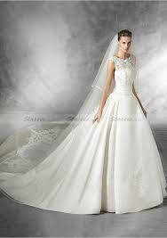 Ball Dress Gown Sleeveless Bateau Cathedral Train Satin Wedding Dresses With