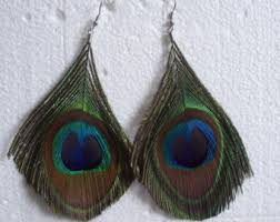 peacock feather earrings peacock feather earrings etsy