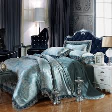 Gothic Victorian Bedding Dark Teal And Silver Gothic Pattern Shabby Chic Baroque Style