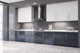 blue kitchen cabinets grey walls corner of stylish kitchen with grey walls tiled floor