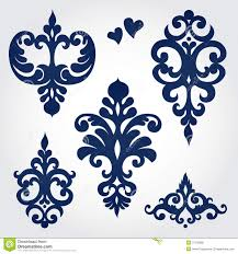 vector set with baroque ornaments in style stock