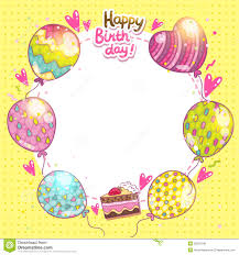 happy birthday background with cake and balloons stock vector