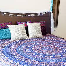 folkulture blue journey mandala in bohemian hippie style indian
