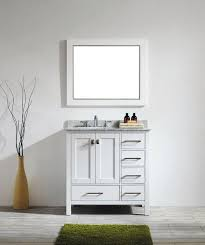 Inch White Bathroom Vanity With White Carrera Marble Top - Carrera marble bathroom vanity