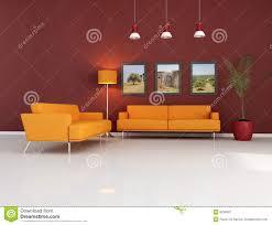 Wohnzimmer Orange Orange Couch Im Modernen Wohnzimmer Lizenzfreie Stockfotografie