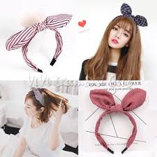 korean headband fashion korean style rabbit bunny ears ribbon scarf hair tie wrap