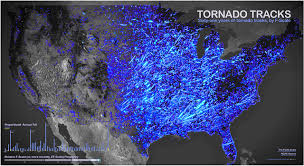 tornado map sixty one years of tornadoes in one map boing boing