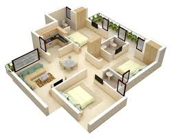 modern bungalow house plan with three bedrooms home interior