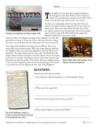 mayflower reading passage and questions thanksgiving activity