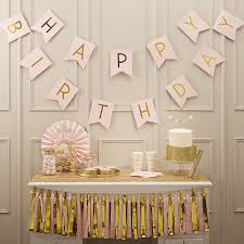 amazon com ginger ray pastel perfection and gold foiled happy amazon com ginger ray pastel perfection and gold foiled happy birthday bunting banner pink kitchen dining