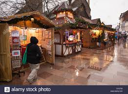 christmas craft stalls in street cardiff wales uk stock photo