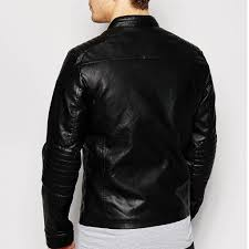 buy biker jacket online men leather panel jacket stylish men leather panel jacket