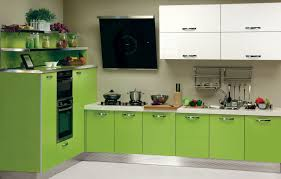 likable home interior small kitchen with light green wooden base