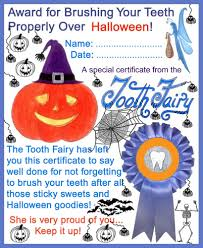 tooth fairy certificate award for brushing teeth over halloween