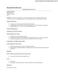 Sample Medical Secretary Resume by Receptionist Resumes Sample Resume Medical Receptionist Http