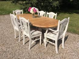 shabby chic solid pine extending oval dining table u0026 6 ducal