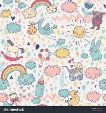 best wrapping paper gentle babys seamless pattern toys childrens stock vector